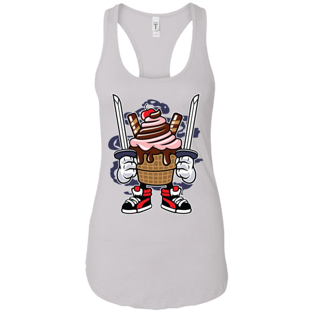 Ice Cream Ninja - Food Art - Women's Racerback Tank Top