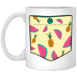 724 - RTP - Maria Funny Bundle - Tropical Fruits Pocket - XP8434 11 oz. White Mug
