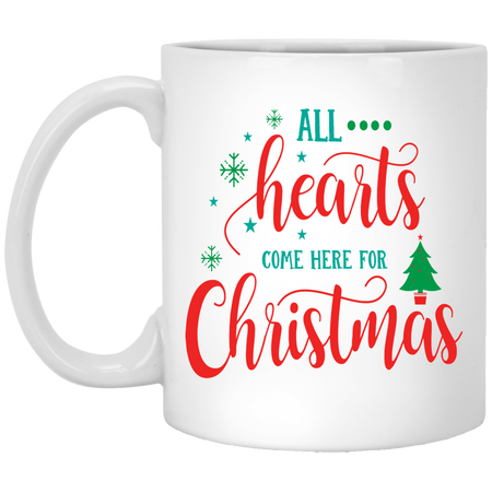 All Hearts Come Here For Christmas - Happy Holidays - 11 oz. White Mug - 2026