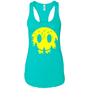 Smiley Moon - Doodle Art - Women's Racerback Tank Top