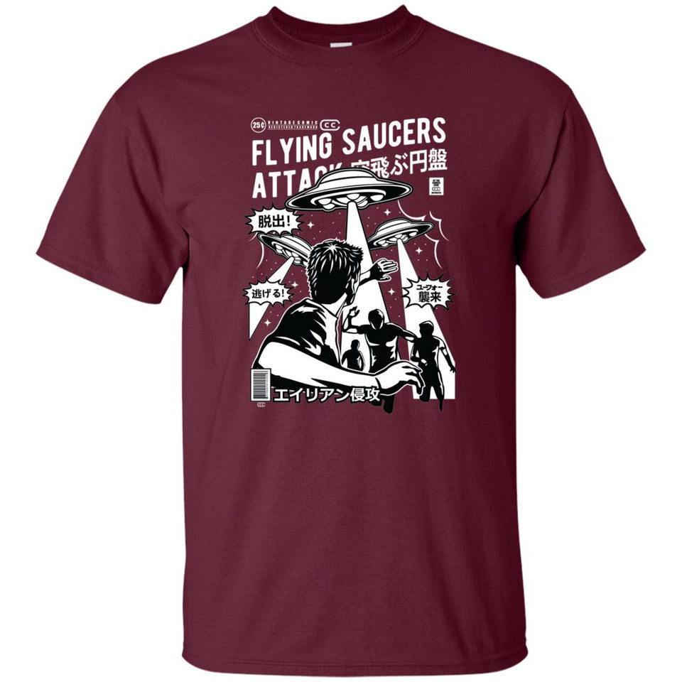 146 - RTP - Roach Graphics - Flying Saucers Attack-01 - Adult Unisex T-Shirt