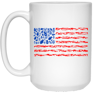 96 - RTP - Caffein Art - Weapon Flag - Weapons Art - 21504 15 oz. White Mug