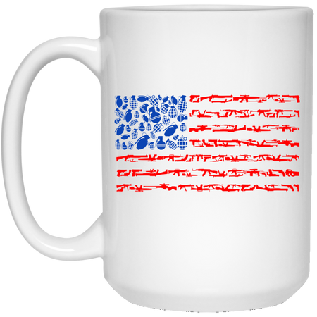 96 - RTP - Caffein Art - Weapon Flag - Weapons Art - 15 oz. White Mug