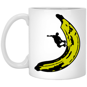7 - RTP - Caffein Art - Banana Skateboard - Happy Art - XP8434 11 oz. White Mug