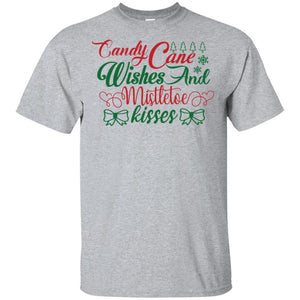 2043 - Candy Cane Wishes And Mistletoe Kisses - Adult Unisex T-Shirt