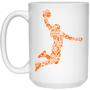 9 - RTP - Caffein Art - Basketball Player - Doodle Art - 21504 15 oz. White Mug