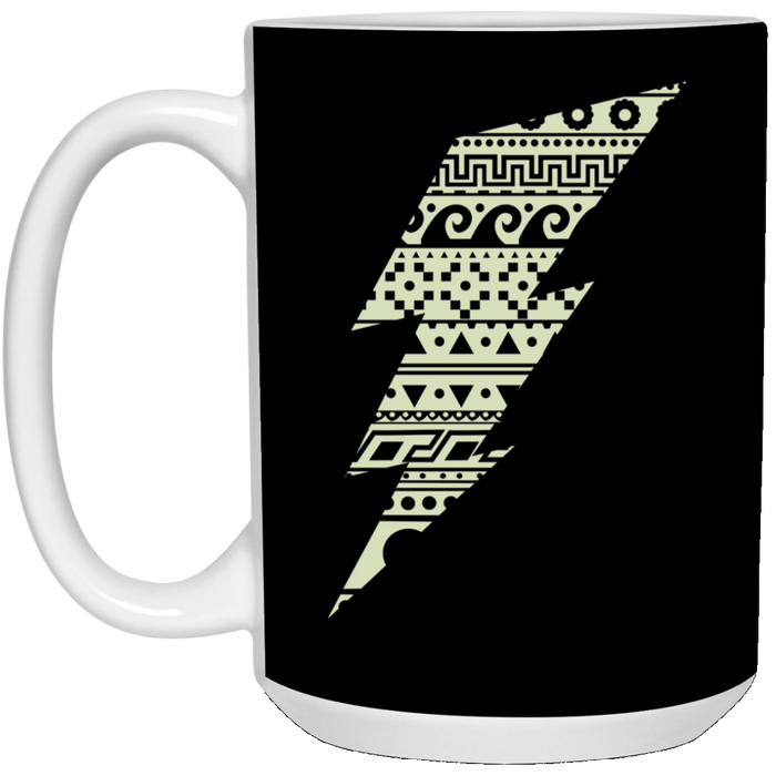 91 - RTP - Caffein Art - Thunderbolt - Super Heroe Art - 15 oz. White Mug