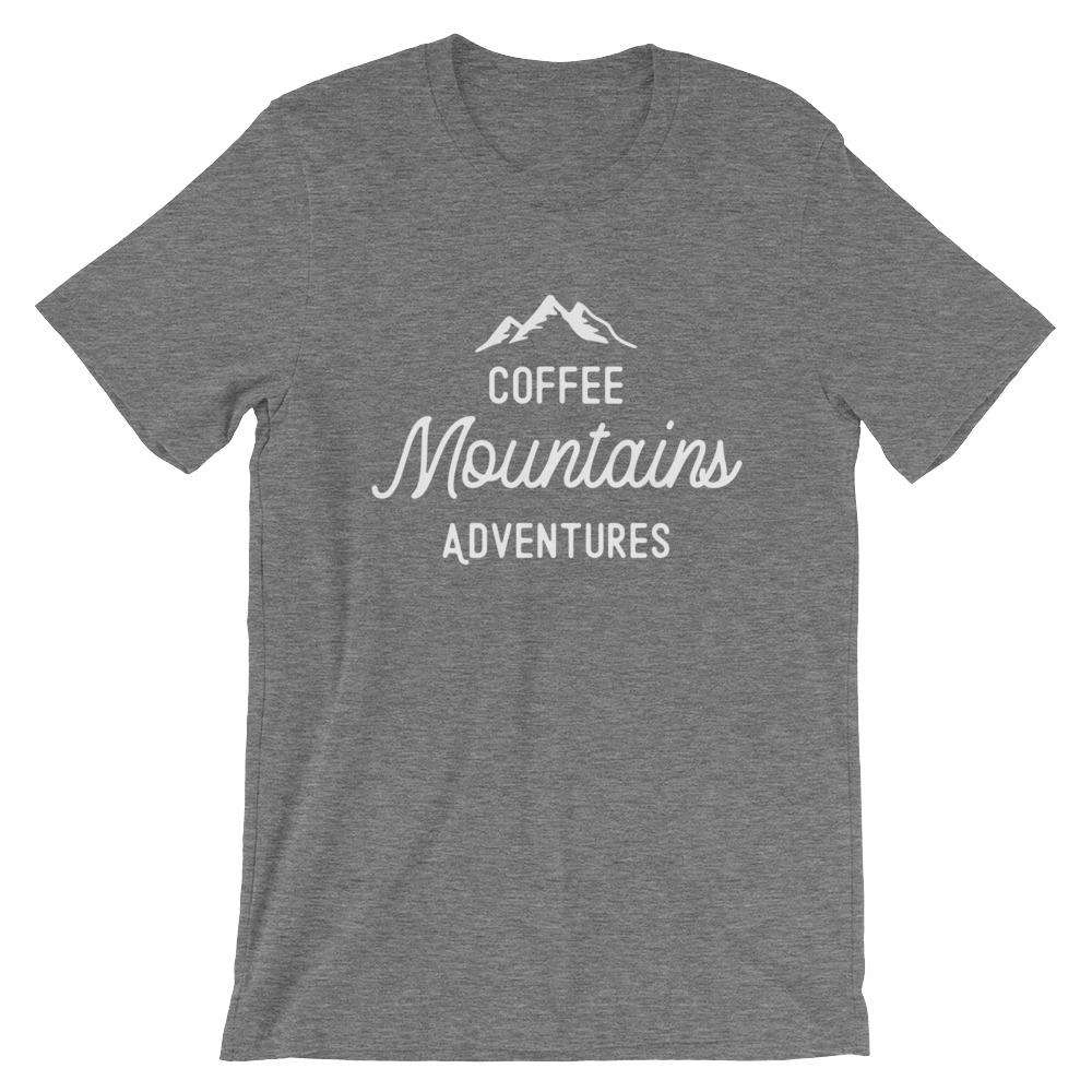 Coffee, Mountains, Adventures - Camping T-Shirt - Adult Unisex T-Shirt