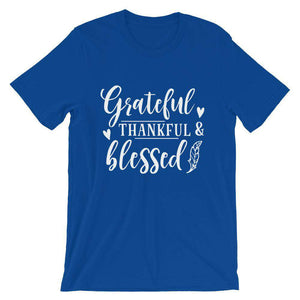 Cute Thanksgiving T-Shirt - Grateful, Thankful, Blessed.
