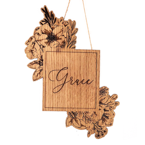 Personalised Solid Oak Wall Hanging - Square