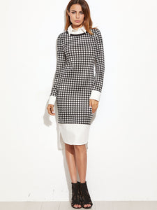 Black & White Contrast Hem Dress - ClosetSheIn