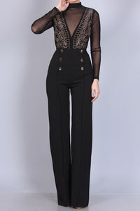 Gold Studded High Waist Dress Pants - ClosetSheIn
