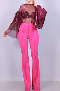 Magenta High Waist Straight Leg Pants - ClosetSheIn
