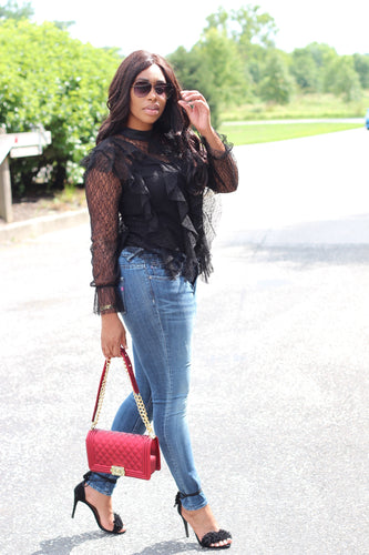 Sheer Lace Ruffled Dress Shirt