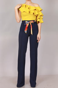 Yellow Ruffle Top - ClosetSheIn