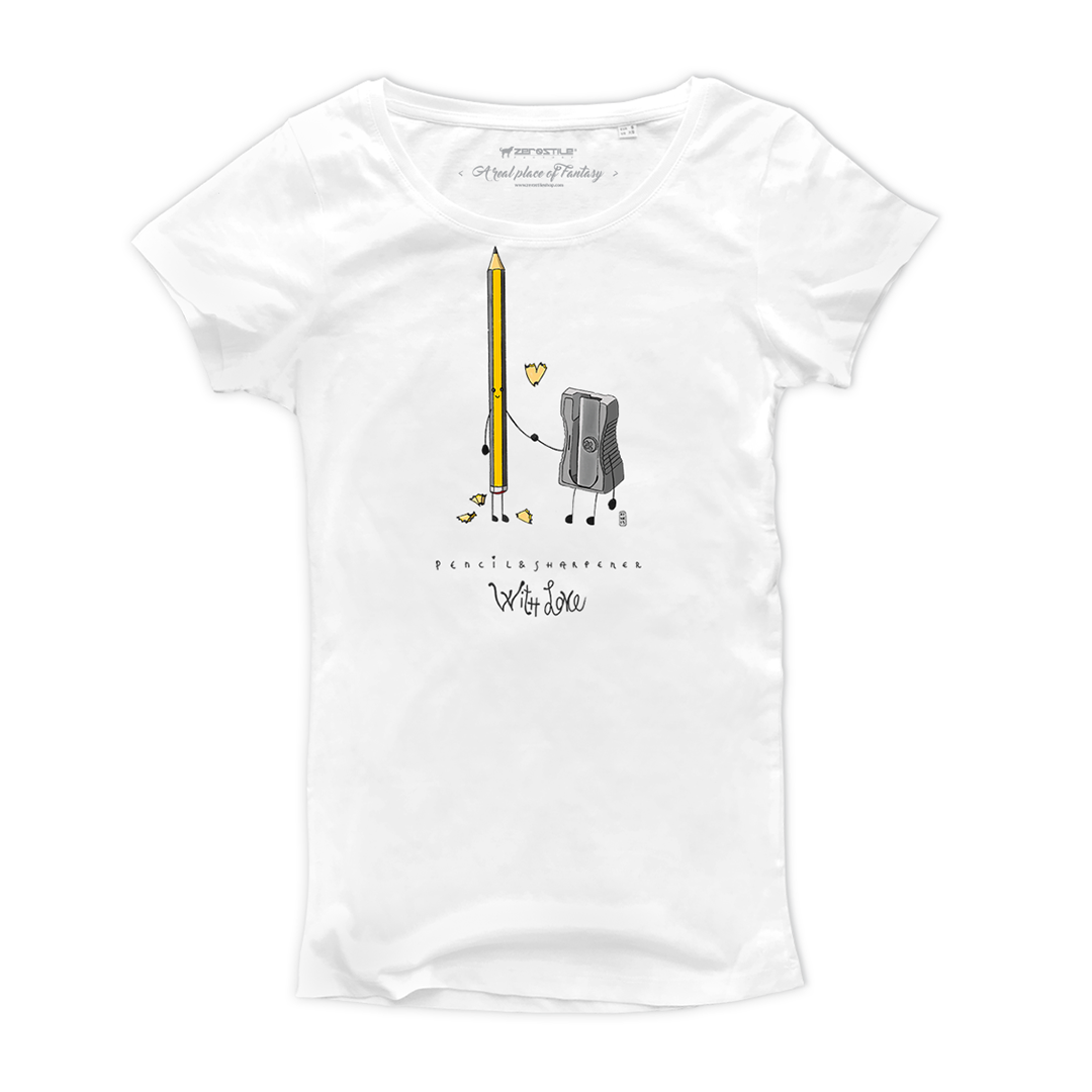T Shirt donna - Pencil & Sharpener - With Love
