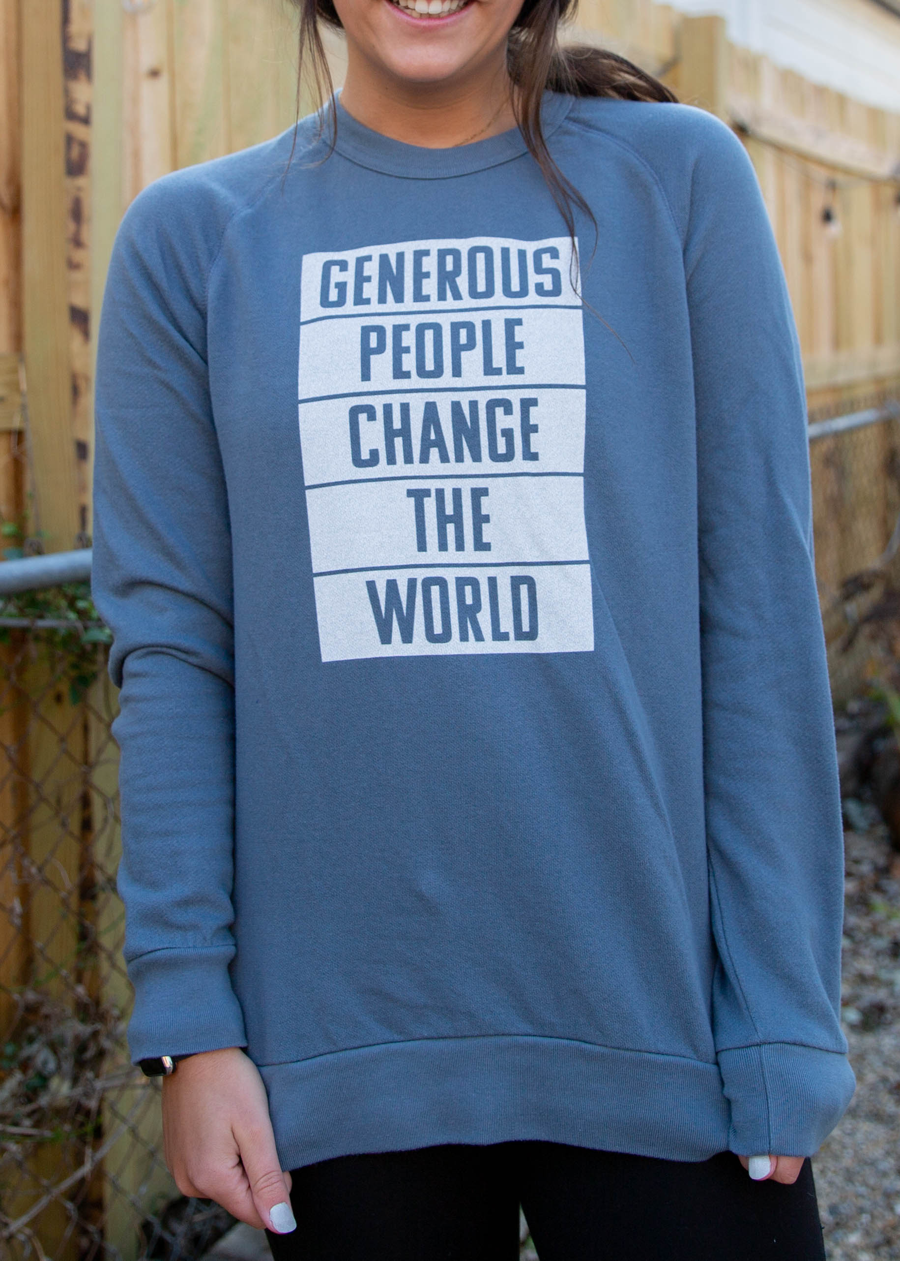 World Changer Washed Denim Crew