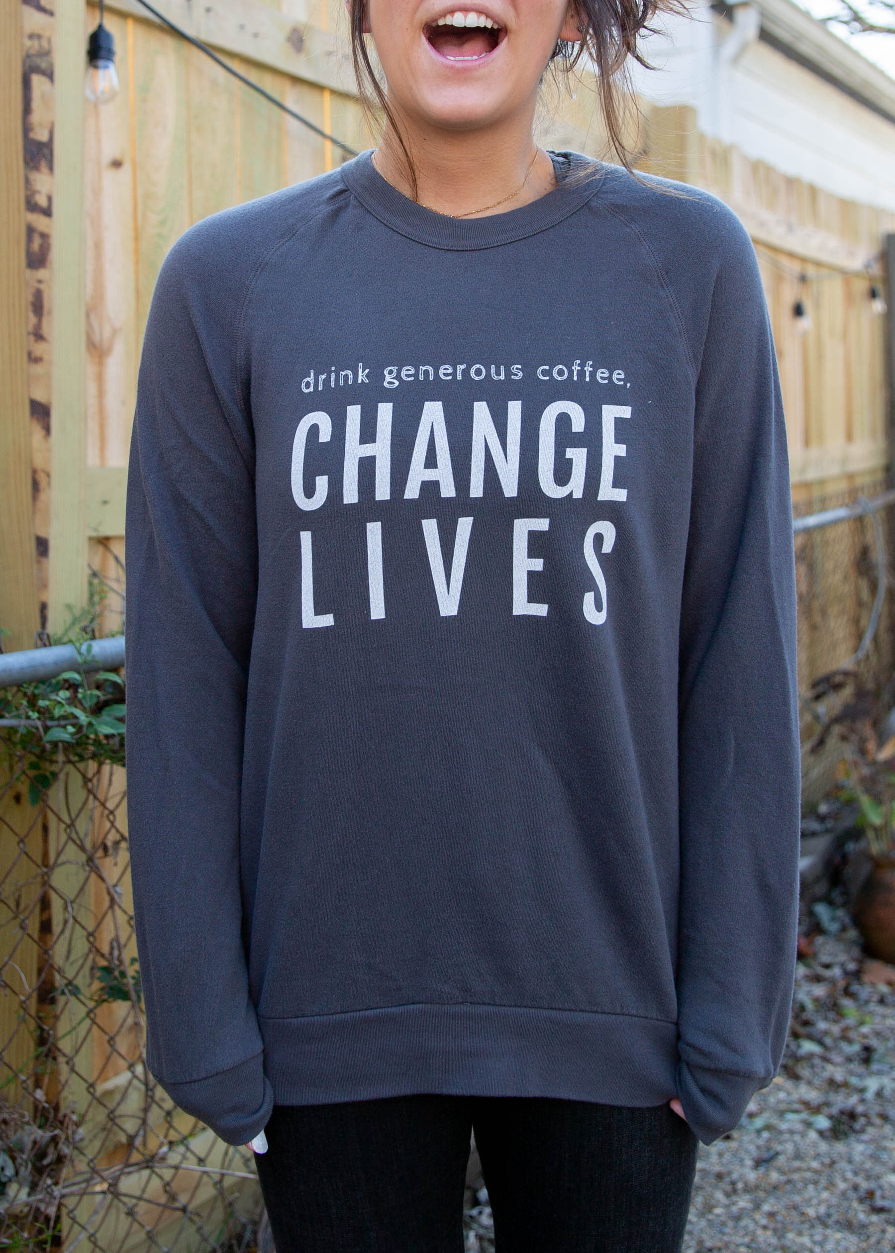 Change Lives Dark Grey Crew