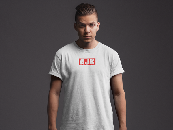 AJK Red Box Rolled Sleeve T-Shirt