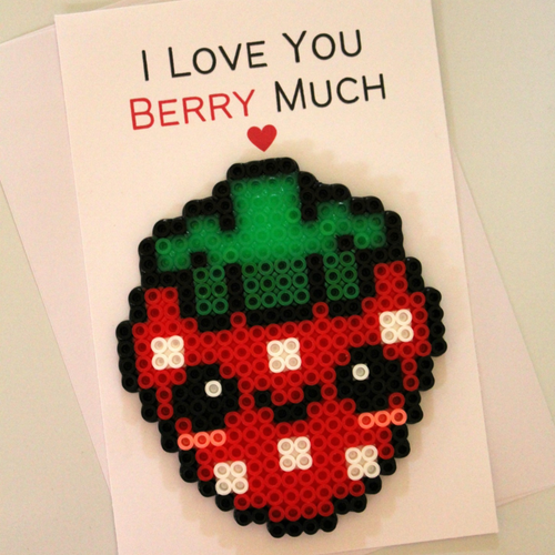 I Love You Berry Much Perler Bead Love Pun Card