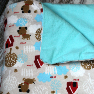 Large Flannel Blanket - Dog House Woof Print