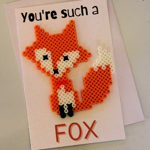You're Such a FOX Perler Bead Card