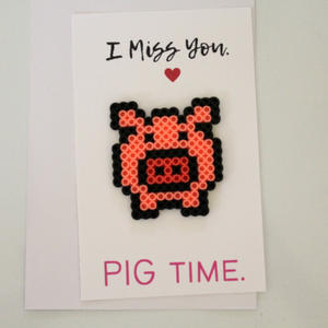 I Miss You PIG Time Perler Bead Card