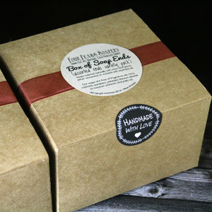 Handmade Natural Soap Ends Sampler Box - over one pound of natural soaps colored with clays and spices and skin-loving oils.