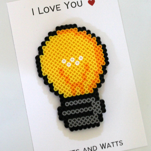 I Love You Watts and Watts Perler Bead Card