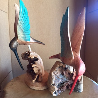 Hummingbird Wood Carving