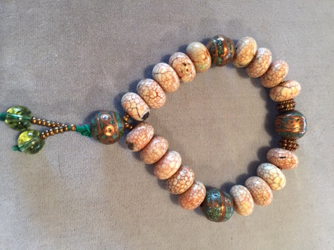 Cracked Agate with Brass & Turquoise Bead Mala