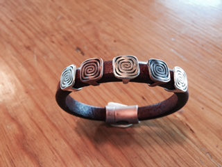 Leather Bracelet with Spiral Designs