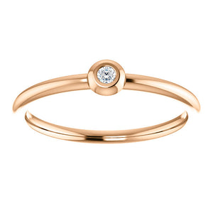 Bezel Set Diamond Stackable Ring - ByURBAE