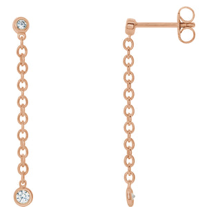 Bezel Set Chain Drop Earrings x Diamonds - ByURBAE