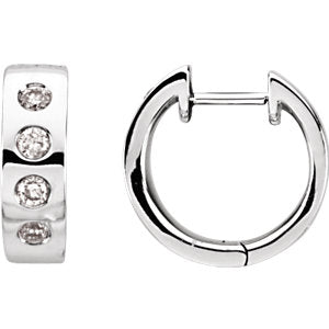 Bezel Set Diamond Hoops - ByURBAE