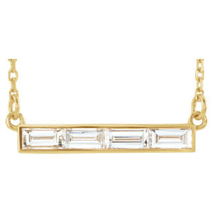 Horizontal Baguette Bar Necklace - ByURBAE
