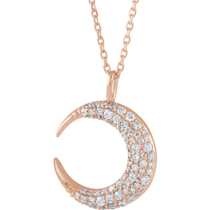 Crescent Moon Necklace x Diamonds - ByURBAE