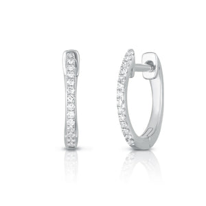 Micro Pave Diamond Huggies - White Gold - Urbaetis Fine Jewelry
