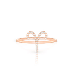 Diamond Aries Zodiac Ring - Rose Gold - Urbaetis Fine Jewelry