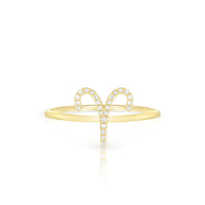 Diamond Aries Zodiac Ring - Yellow Gold - Urbaetis Fine Jewelry