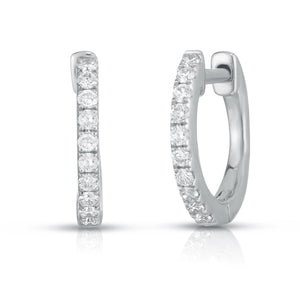 Pave Diamond Huggies - White Gold - Urbaetis Fine Jewelry