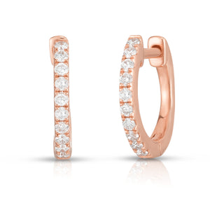 Pave Diamond Huggies - Rose Gold - Urbaetis Fine Jewelry