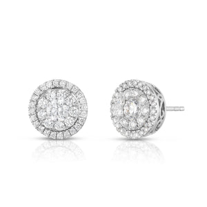 Large Diamond Stud Illusion Earring with Halo