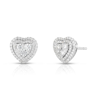 Diamond Heart Illusion Earring with Halo