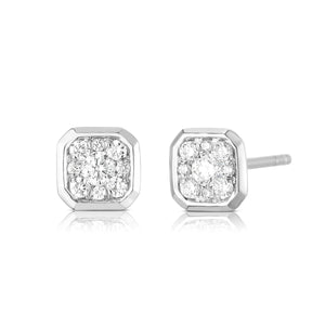 Bezel Set Cushion Illusion Earring - White Gold - Urbaetis Fine Jewelry