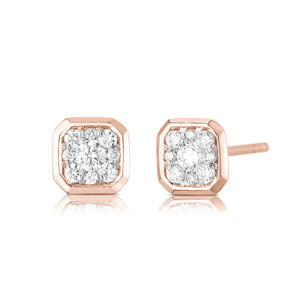 Bezel Set Cushion Illusion Earring - Rose Gold - Urbaetis Fine Jewelry