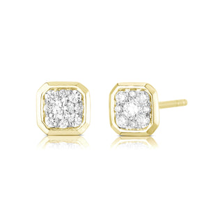 Bezel Set Cushion Illusion Earring - Yellow Gold - Urbaetis Fine Jewelry