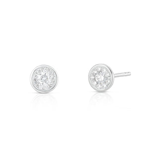 Bezel Set Round Illusion Earring - White Gold - Urbaetis Fine Jewelry
