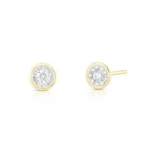 Bezel Set Round Illusion Earring - Yellow Gold - Urbaetis Fine Jewelry