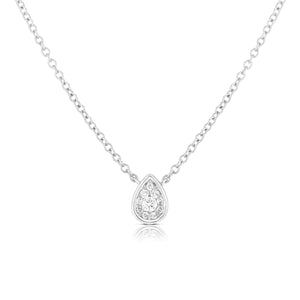 Pear Cluster with Bezel Necklace - White Gold - Urbaetis Fine Jewelry